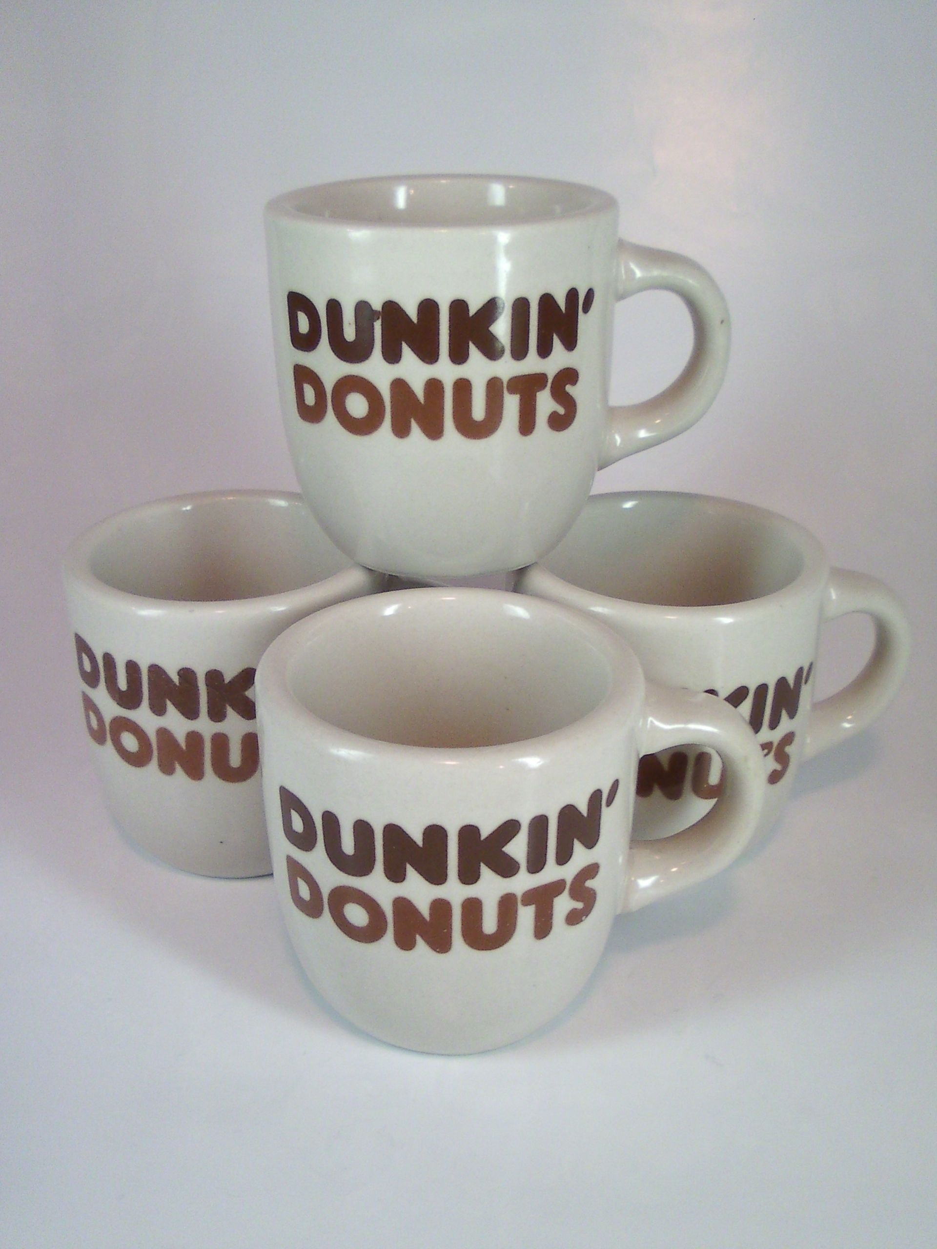 Vintage ceramic Dunkin Donuts coffee mugs. For sale at AlienVintage on Etsy.com.