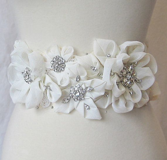 Items similar to Ivory Rhinestone Bridal Sash on Champagne Ribbon, Wedding Belt, Organza Flowers - KYOTO on Etsy