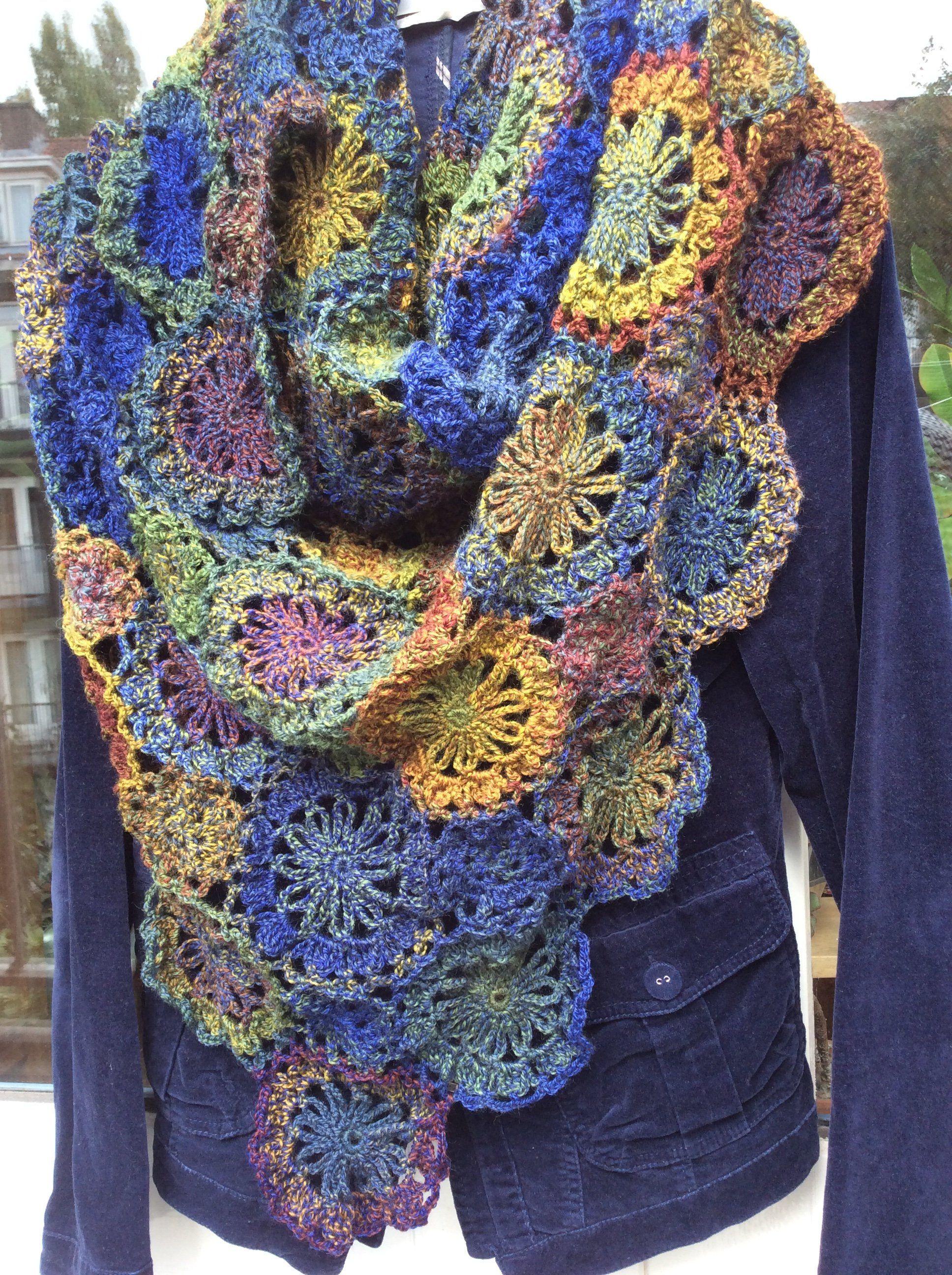 e7df1eb4510 Stola sjaal handgemaakt gehaakt / blauw - groen - geel / model ...