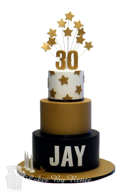 3 Tier 30th Birthday Cake Black Gold White
