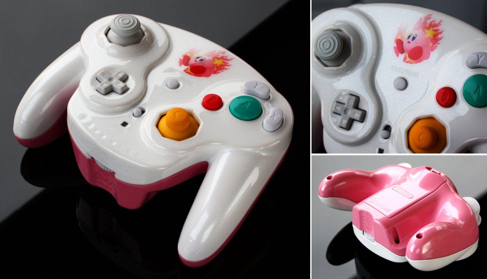 Custom Kirby Smash Bros Gamecube Controller With Pearls And Iridesc By Zoki64 Deviantart Com On Deviantart Gamecube Controller Kirby Custom Consoles