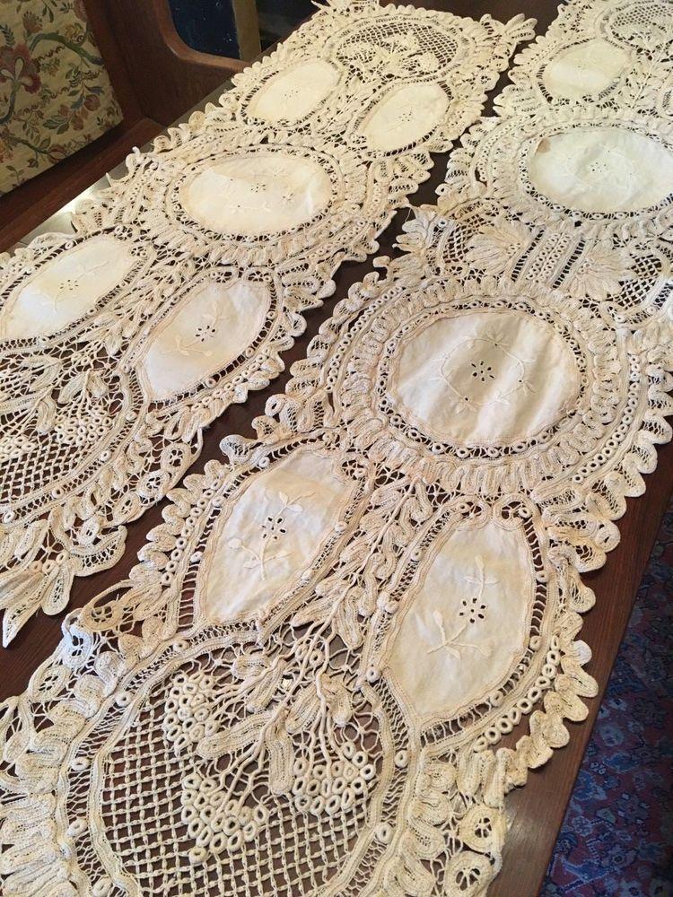 Beautiful Set Of Two Antique Vintage Italian Ecru Linen Lace