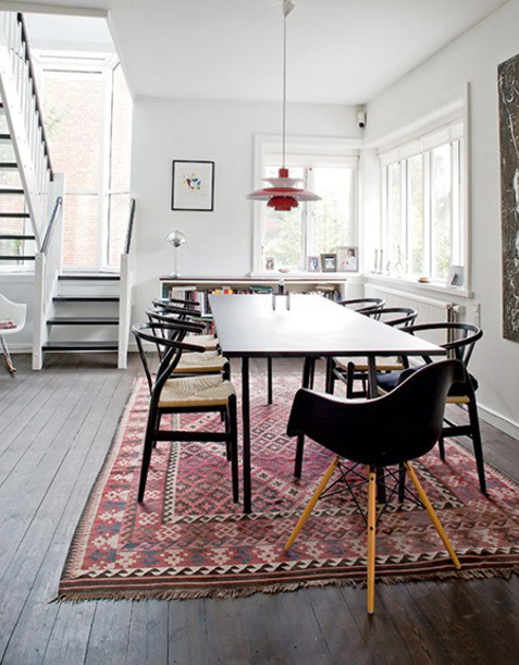 Sleek Clean With The Persian Rug For Color Interior Dining