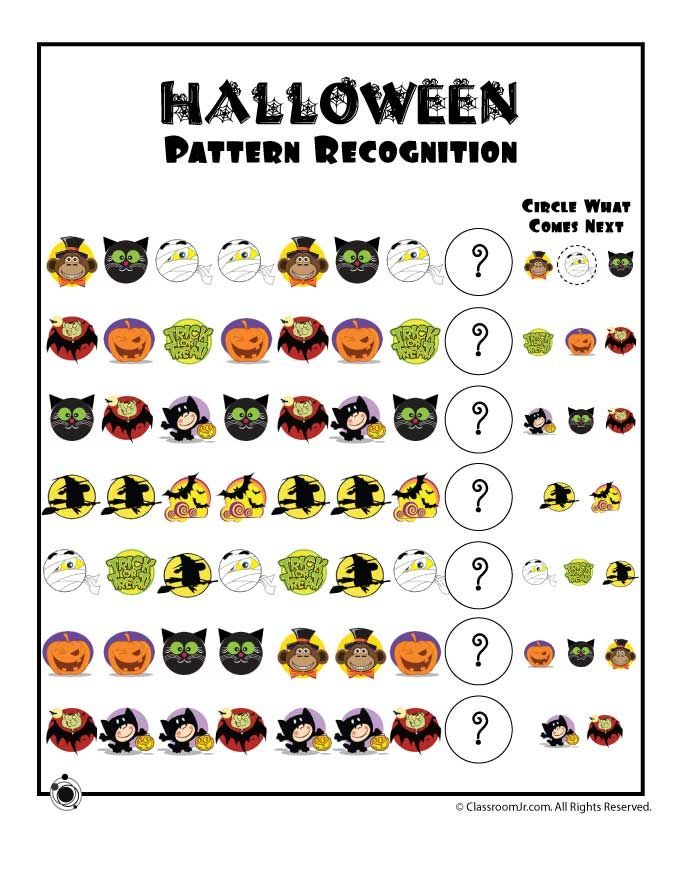preschool worksheets for halloween halloween pattern recognition worksheet classroom jr. Black Bedroom Furniture Sets. Home Design Ideas