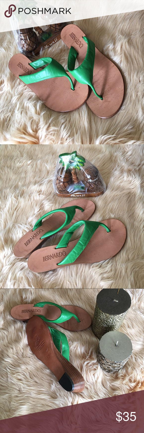 """Bernardo Wedge Sandal Pre-loved. Worn once. Skillfully crafted from the finest of leathers.  Leather sole Heel measures approximately 1.5"""" Leather sandal featuring thong strap. Size 7M. Made in Italy. Bernardo Shoes Wedges"""