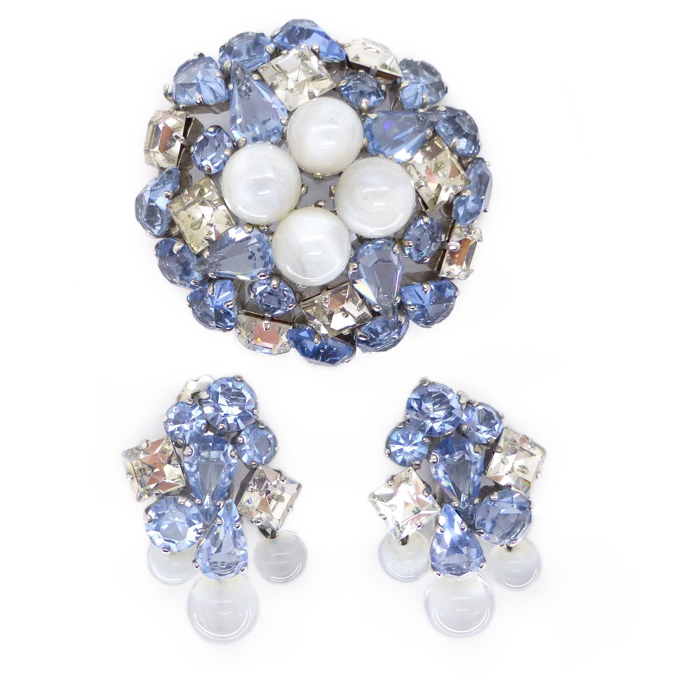Vintage Christian Dior 1959 Moonstone Aqua Glass Brooch Earrings