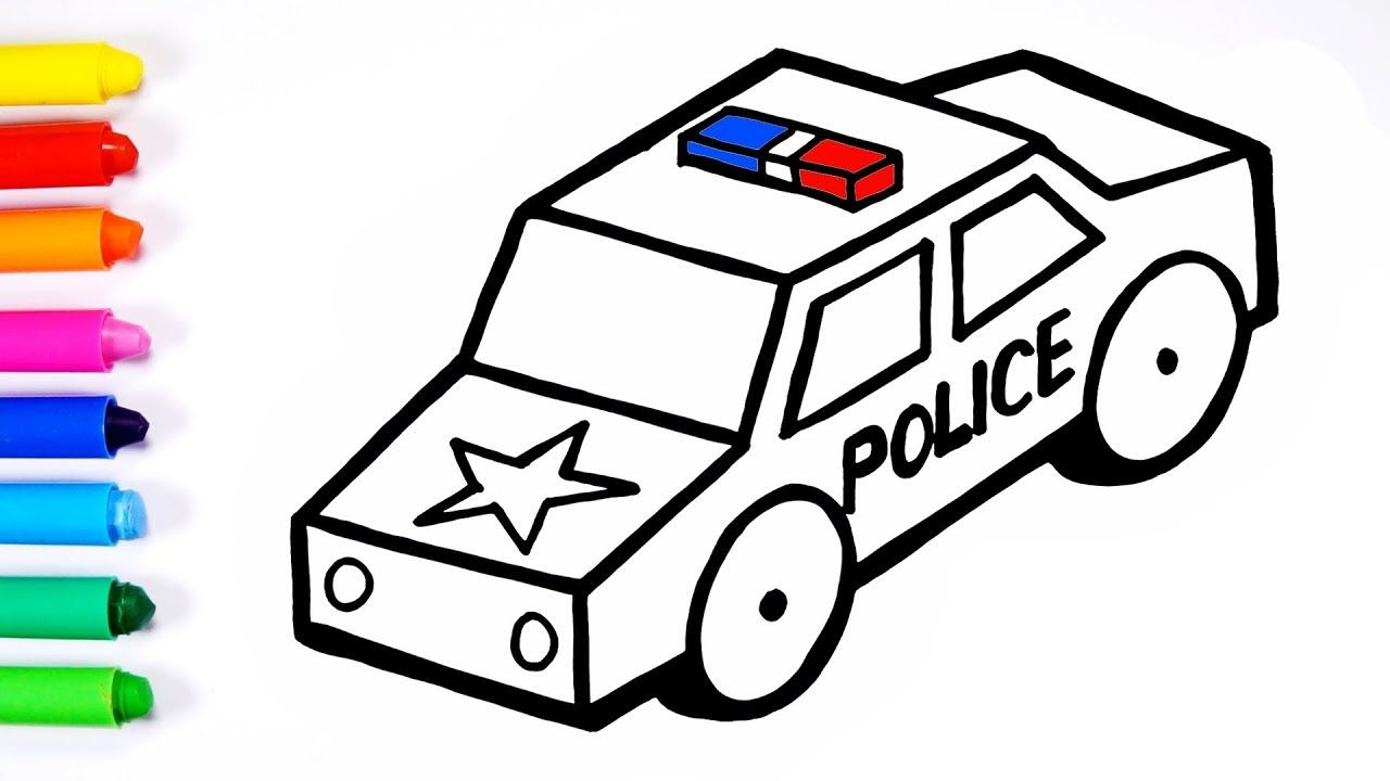 Draw And Color Police Car For Kids Toddlers Sunny Colours Kids Police Car Kiddos Colours