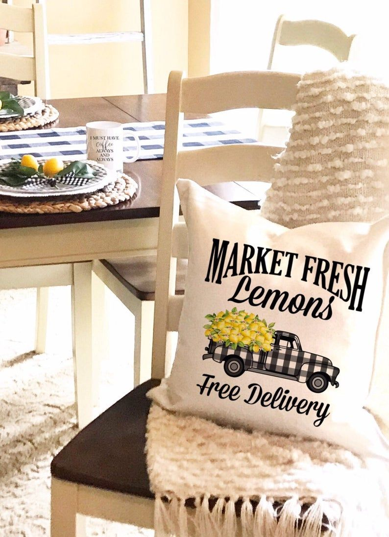 Market Fresh Lemons Pillow Cover Buffalo Check Buffalo