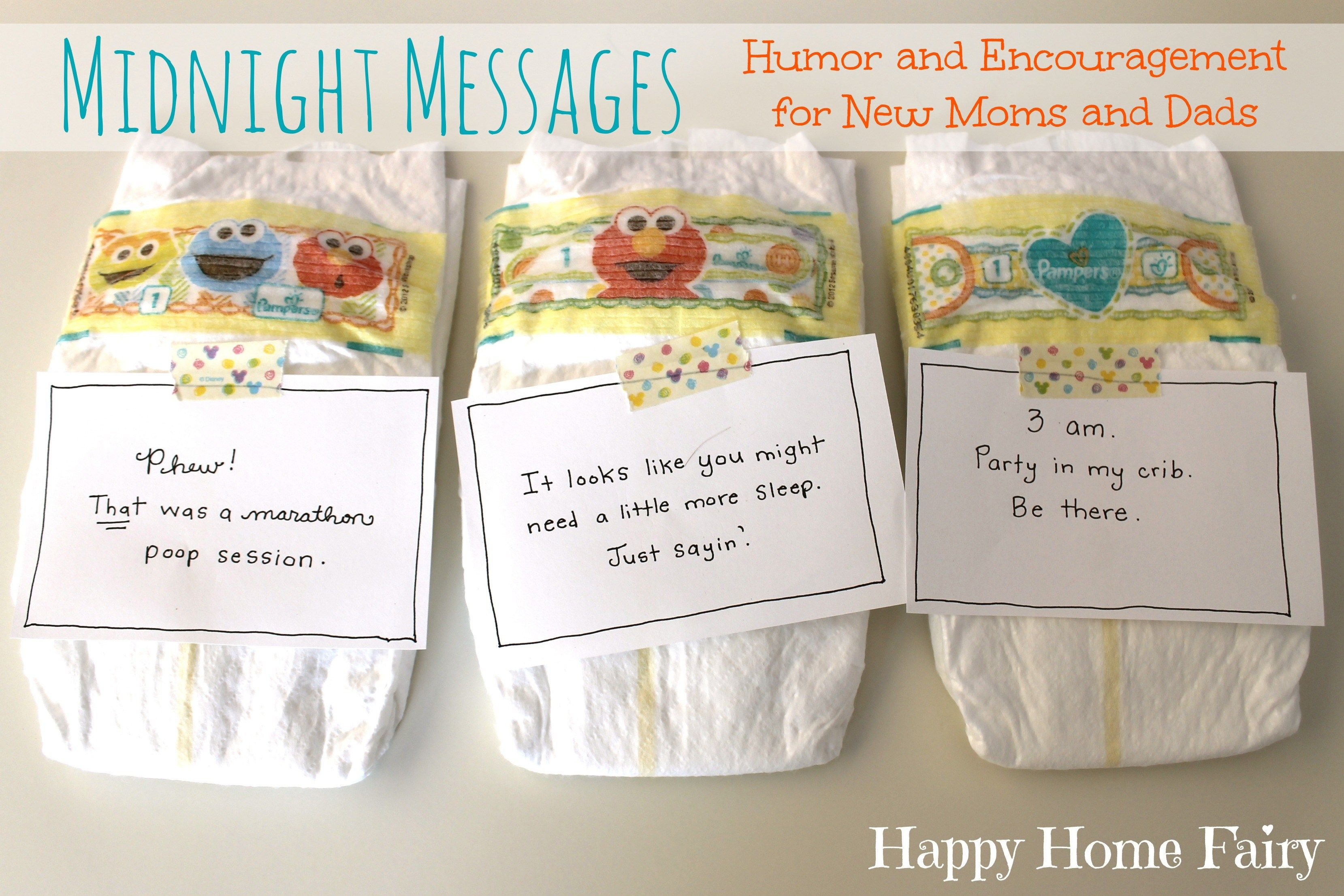 Midnight Messages For New Mommies Free Printable Happy Home Fairy Baby Shower Funny Funny Baby Shower Games Funny Baby Shower Gifts