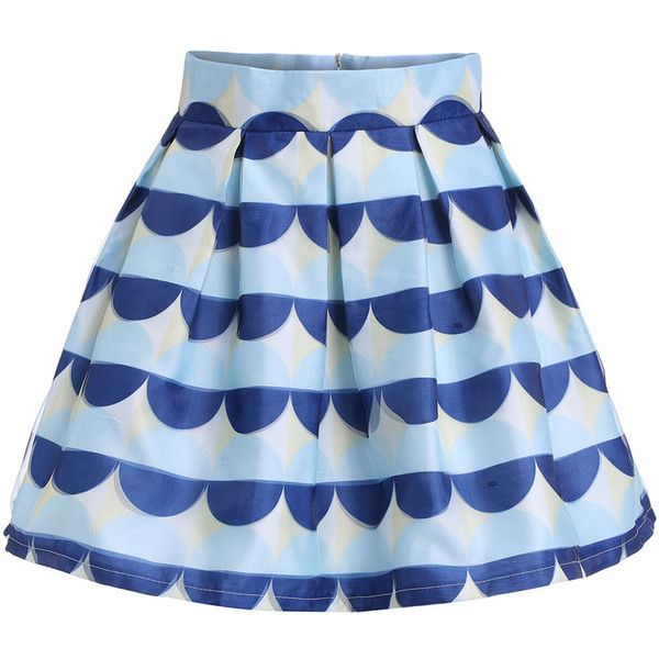 Semicircle Print Flare Skirt (130 HRK) ❤ liked on Polyvore featuring skirts, bottoms, romwe, multicolor, circle skirt, flared skirt, short flared skirts, patterned skater skirt and print skater skirt