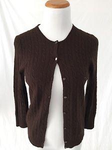 J Crew Brown Cashmere Blend Cableknit Cardigan Sweater Women's S   eBay