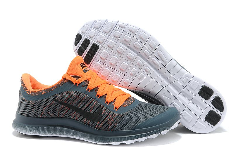 44962d01a3e6  49.99 Mens Nike Free 3.0 V6 Flyknit Carbon Gray Vivid Orange ...