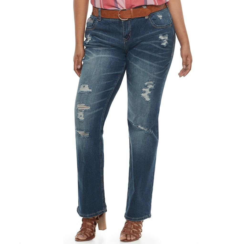 bcce264b420 Juniors' Plus Amethyst Belted Baby Bootcut Jeans | Products | Jeans ...