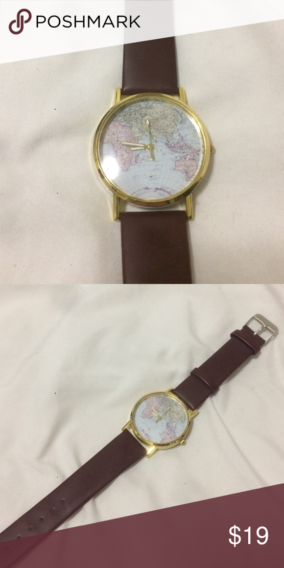 World map watch d world and accessories world map watch gold watch with world map background and burgundy strap never been worn gumiabroncs Choice Image