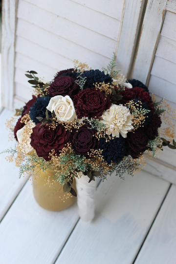Marsala and Plum Wedding bouquet is part of Plum wedding bouquet - marsala and plum sola roses, zinnias, carnations, mums and chorkis with ivory filler and tan babies bre