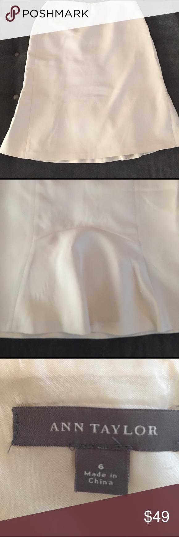 Ann Taylor silk cream silk skirt Fully lined silk midi skirt with back flounce detail . Side zipper worn once Ann Taylor Skirts A-Line or Full