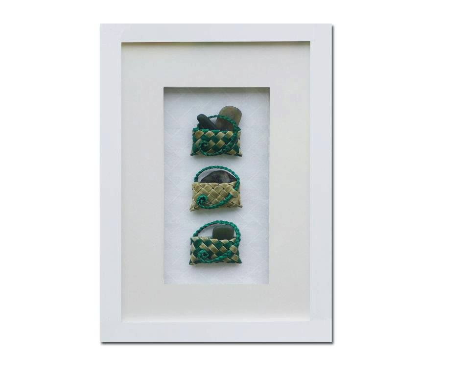 3 traditionally weaved kete with NZ greenstone in an A4 boxed frame ...