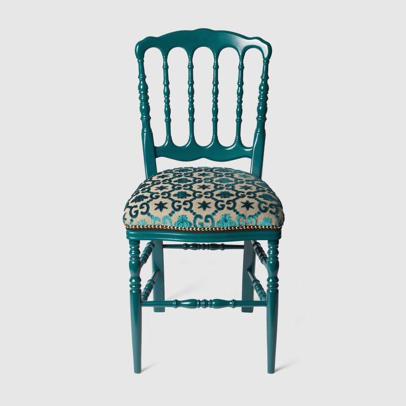 Gucci Wood Chair With Gg Jacquard Chair Decor Blue Wood