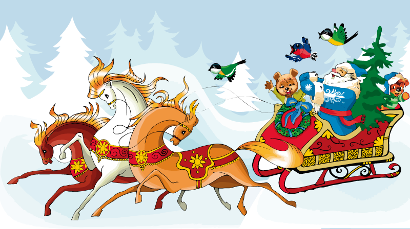Santa Claus en su trineo de caballos con un estilo de navidad del ...