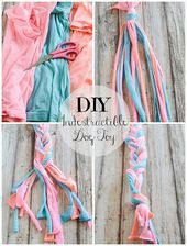 DIY Indestructible Dog Toy  turn old tshirts into a toy your dog will love