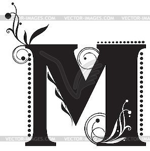 Clip Art Black And White Initial Letter M Vector Clipart Clip