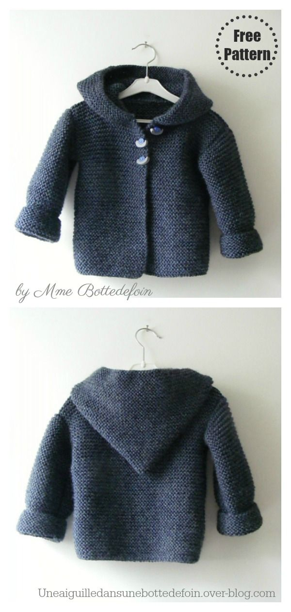 7 Garter Stitch Hooded Baby Jacket Free Knitting Pattern and Paid