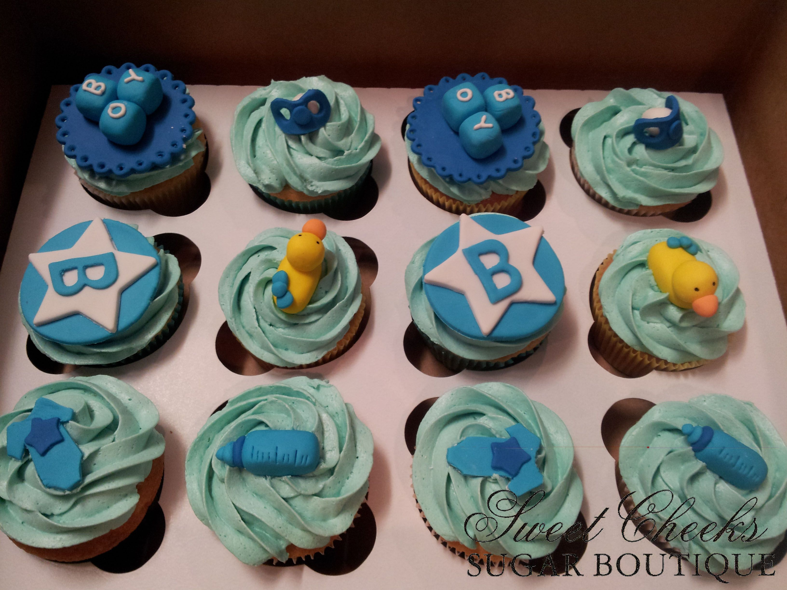 Baby boy baby shower cupcakes Sweet Cheeks Cupcakes ...