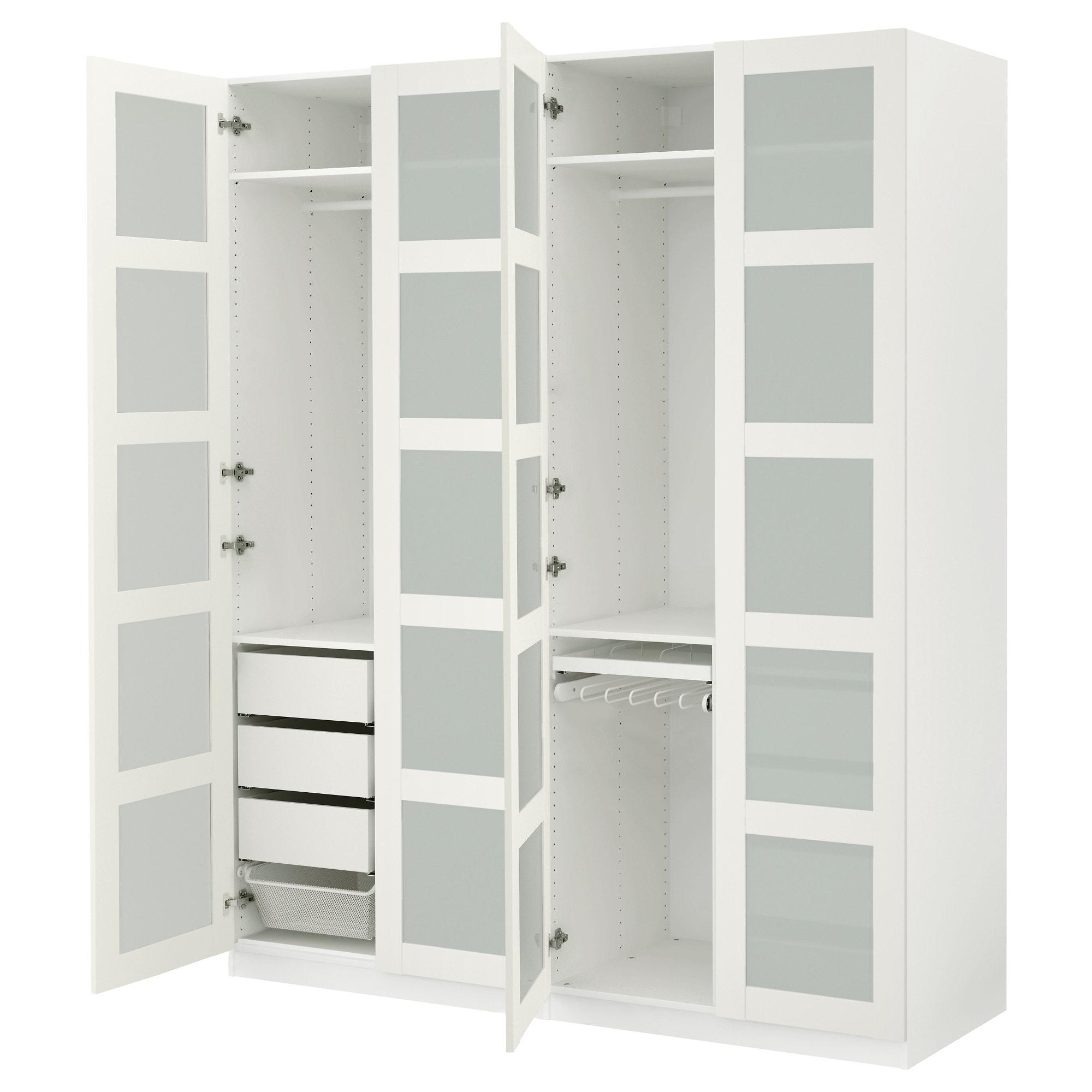 huge discount f9389 8b0b0 IKEA - PAX Wardrobe white, Bergsbo frosted glass | IKEA ...
