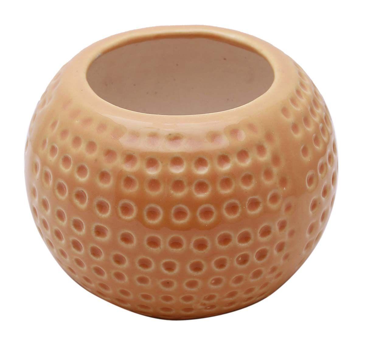 Bulk Wholesale Small Round Ceramic Planter Hand Painted Peach Garden Patio Indoor Outdoor Plant Pot Decoration Ceramic Planter Pots Ceramic Planters