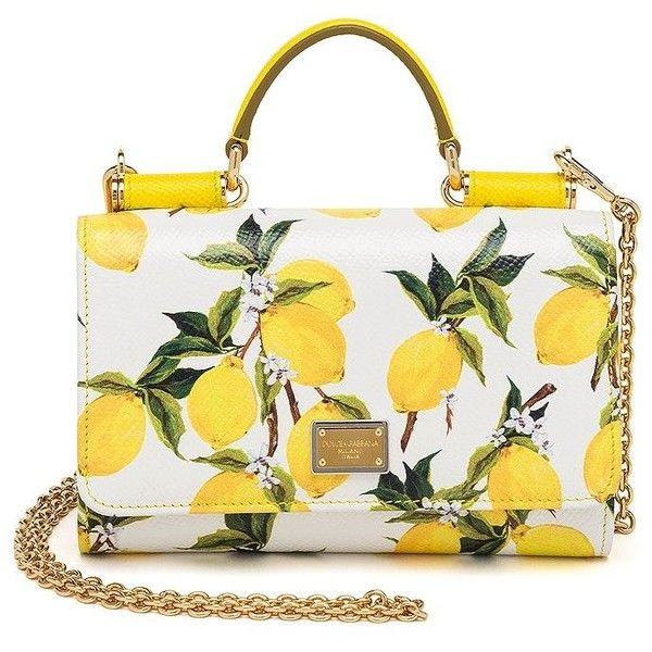 Dolce   Gabbana Lemon-Print Textured Leather Smartphone Chain Wallet  ( 1 6b1c95418e327