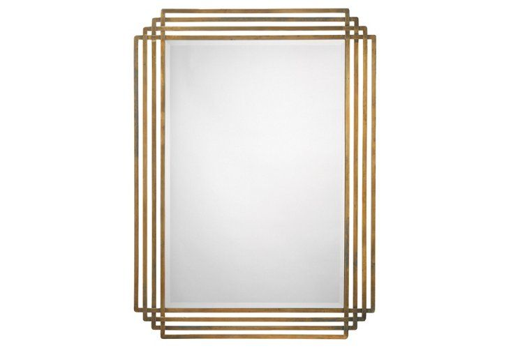 Jamie Young Serai Wall Mirror Antiqued Brass With Images