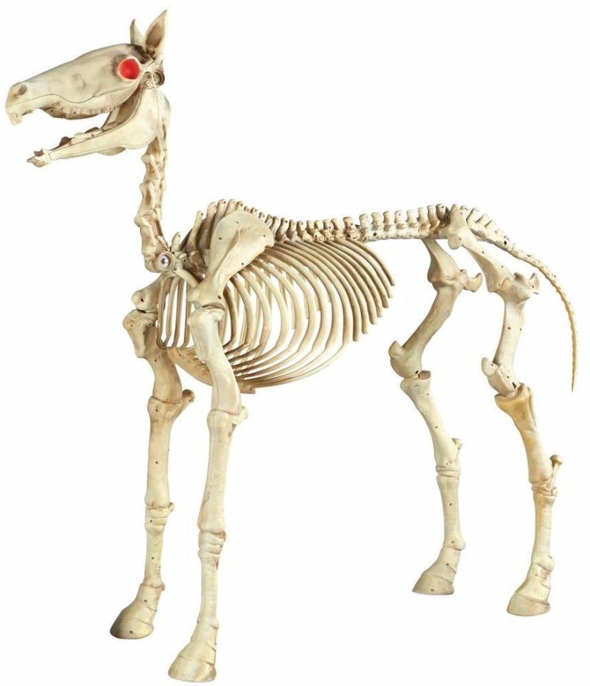 standing skeleton horse with led illuminated red eyes halloween