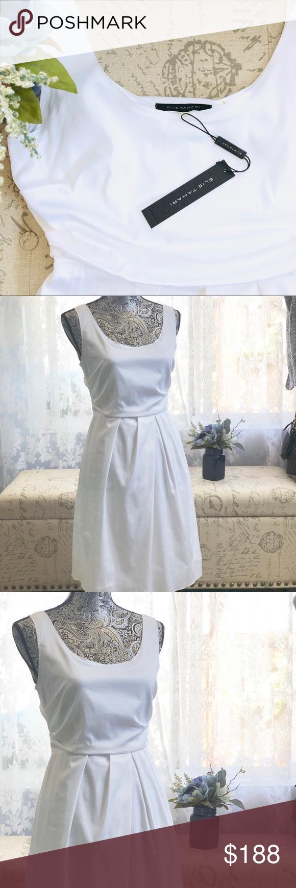Nwt Elie Tahari White Sleeveless Riley Dress Elie Tahari Elie Tahari Dresses Tahari Dress [ 1740 x 580 Pixel ]