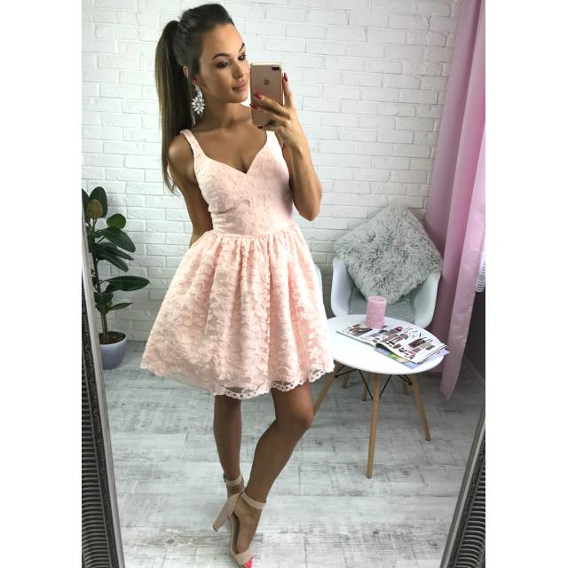 8d1ab1bf Marcelline - Koronkowa sukienka pudrowy róż | Sukienki na wesele ...