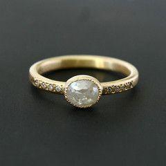 0.74ct  light grey diamond ring