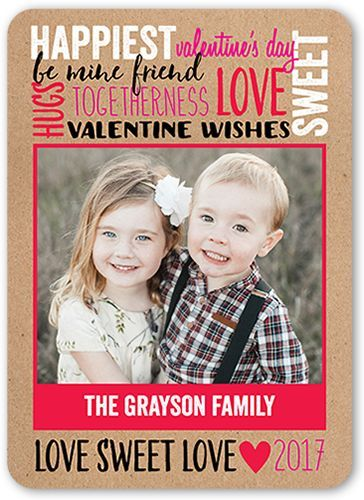Rustic Love Valentine's Card, Rounded Corners, Beige