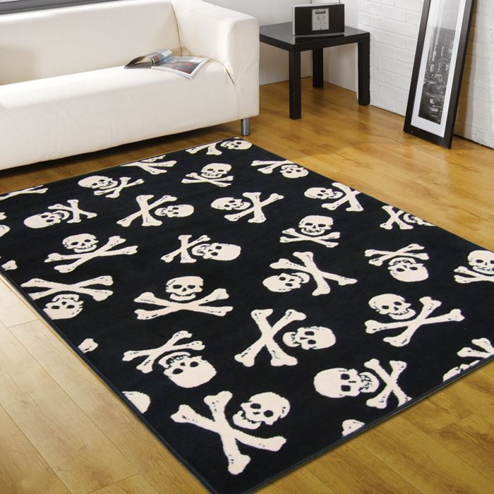 A Black Skull And Cross Bones Rug Warm Up Your Kids Room