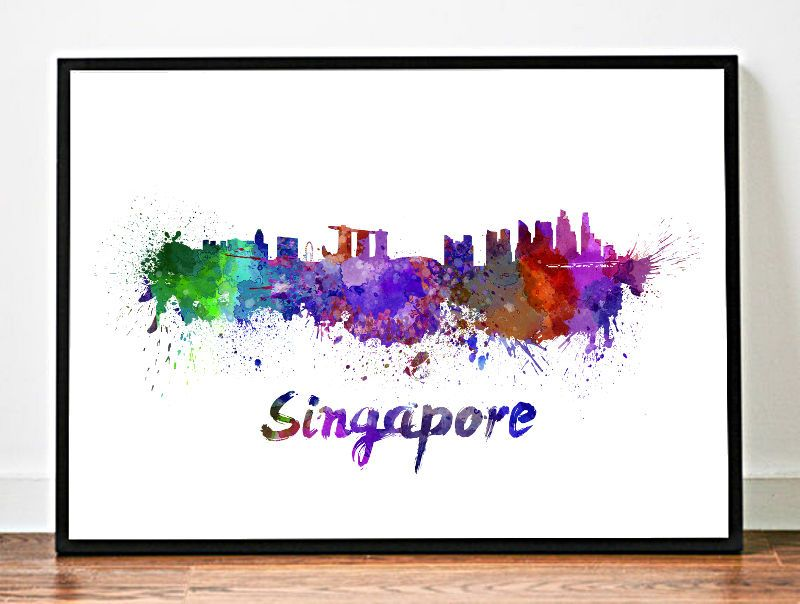 Singapore Skyline Print Watercolor Artcity Skyline Wall Art Home