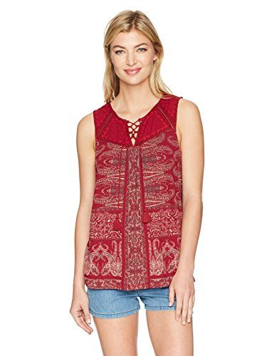 05d463788b920 Lucky Brand Women s Printed Lace up Tank Top
