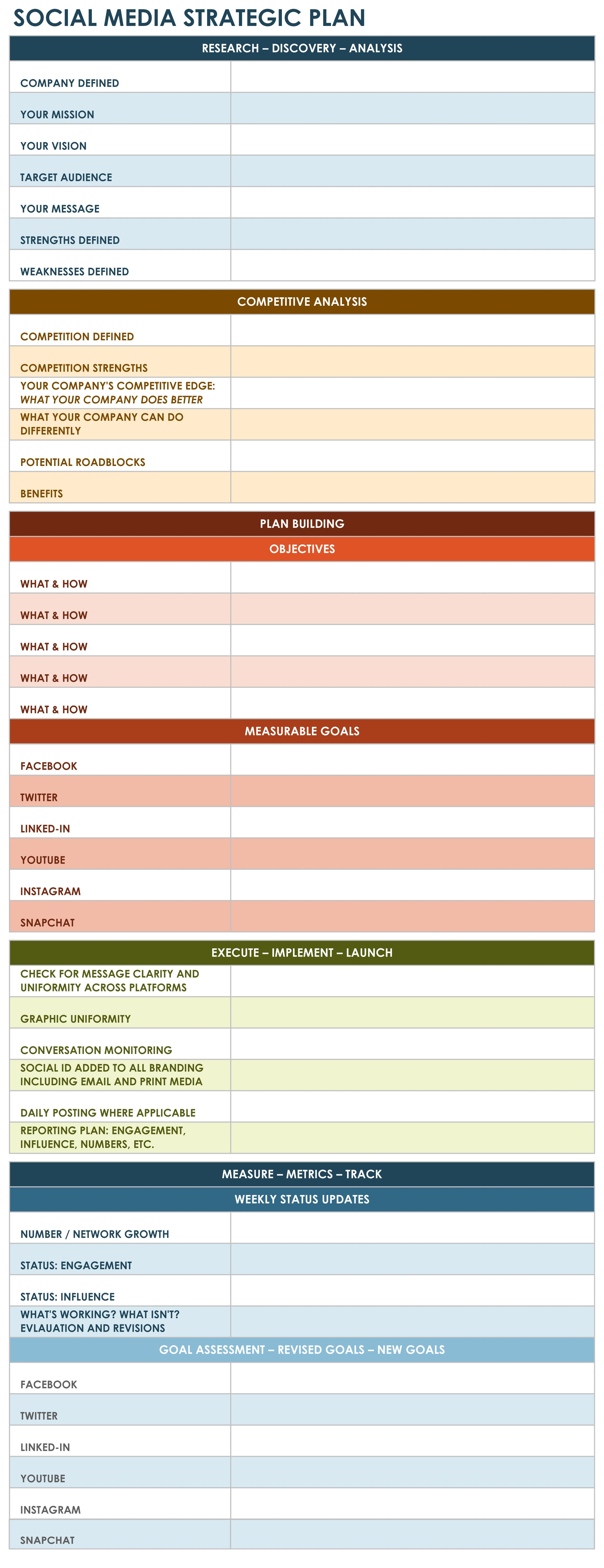 Social Media Strategic Plan Excel Template