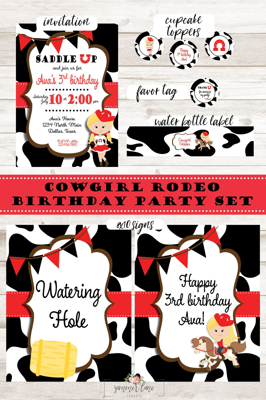 Western Theme Party Saddle Up Girls Birthday Invitation Set, Cowgirl ...
