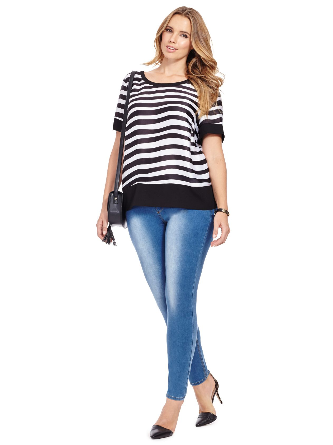 Painted Stripe Blouse by @modamixfashion  Available in sizes 0X-3X