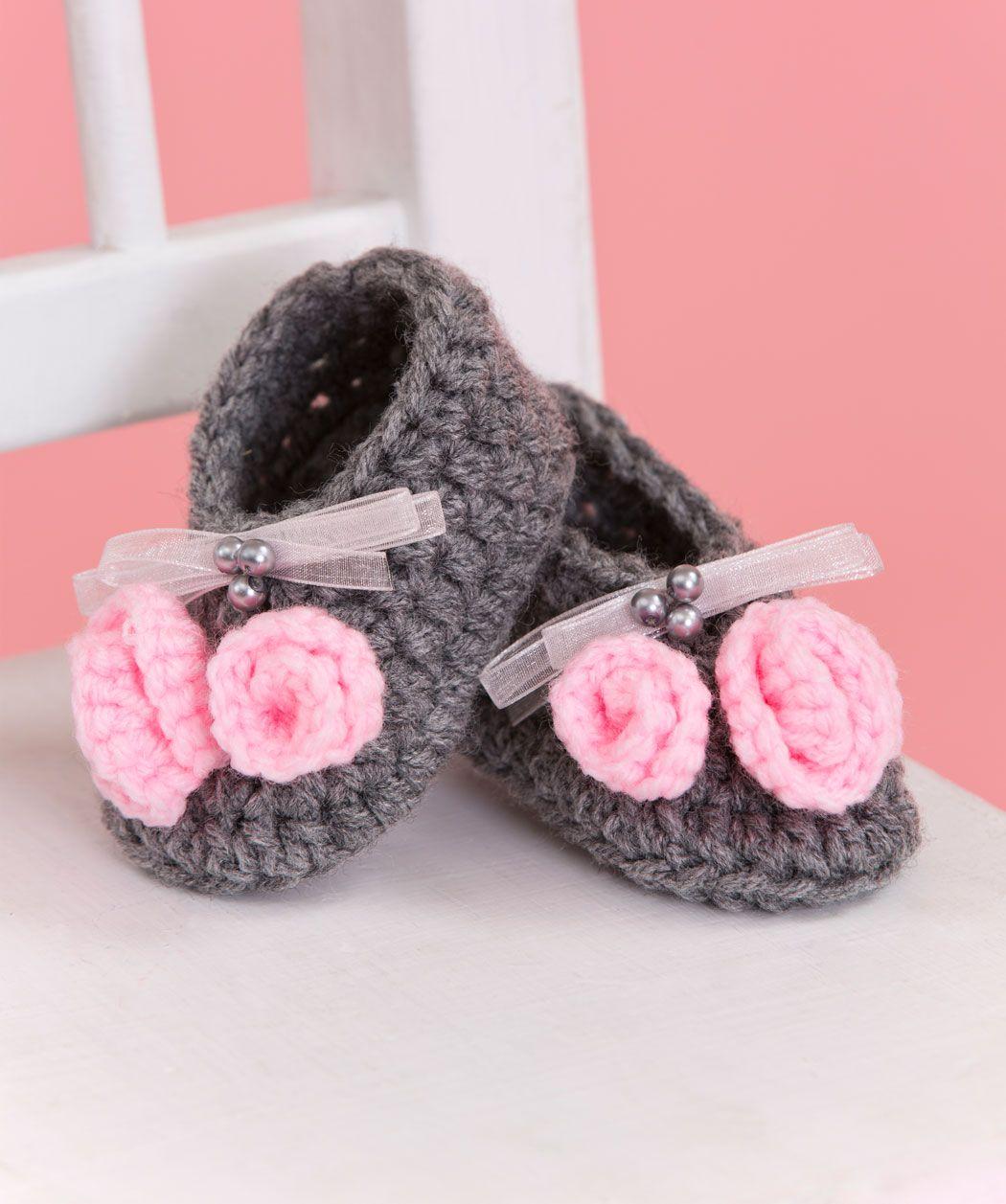 Little Miss Booties Free Crochet Pattern from Red Heart Yarns