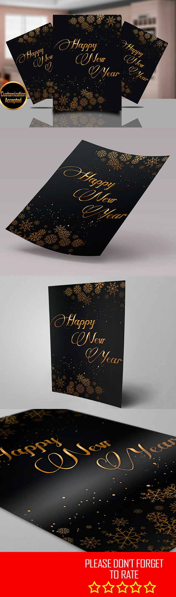 Happy New Year Greeting Card Template And Printable  All Text
