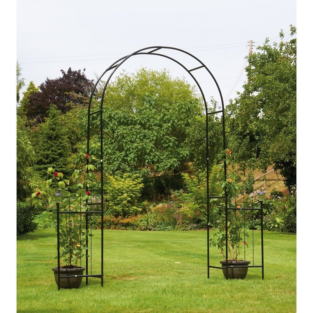 Metal Garden Arch Outdoor Trellis Arbour Solar Lanterns Side