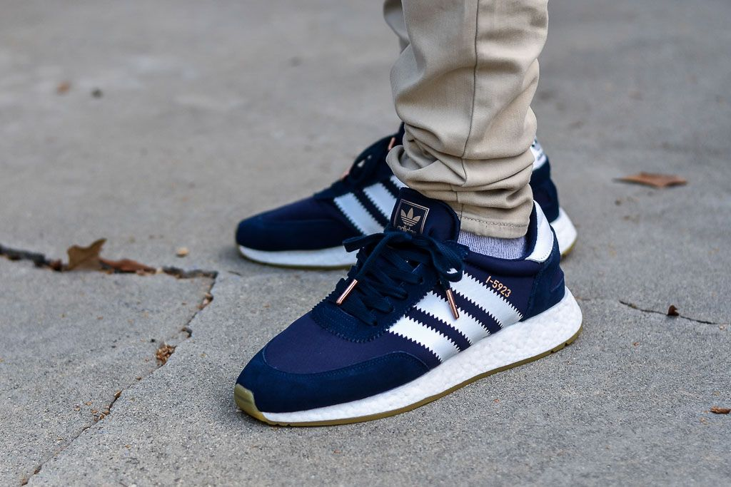 best sneakers f0cbe 59cbc See how the Adidas I-5923 Iniki Navy  White look on feet in this video  review. Find out where you can buy these Adidas I-5923 Iniki online!