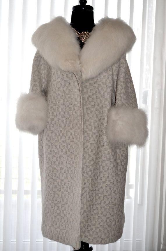 Stunning Vintage Boucle Wool Coat Fox Fur Collar by Vtgantiques, $425.00
