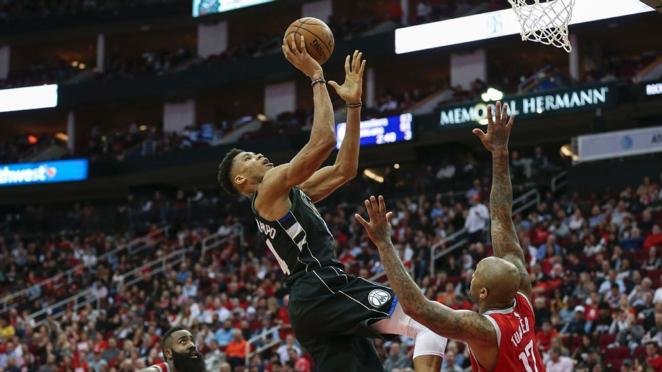 Giannis Antetokounmpo Of Milwaukee Bucks Brushes Off Mvp Talk I Don T Know If I M There Yet Espn Giannis An Nba Matches Milwaukee Bucks Houston Rockets