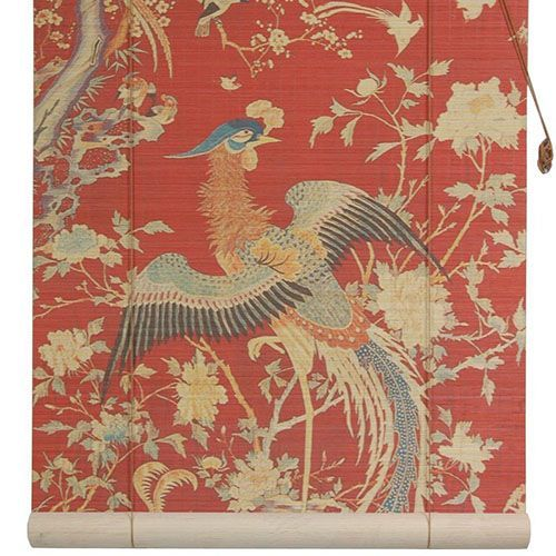Oriental Furniture Red 36-Inch Wide Phoenix Bamboo Roll Up Blind