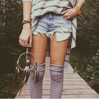 shorts denim shorts denim socks grey sweater stripes striped sweater jewels silver ring bracelets dreamcatcher native american hippie boho feathers knee high socks